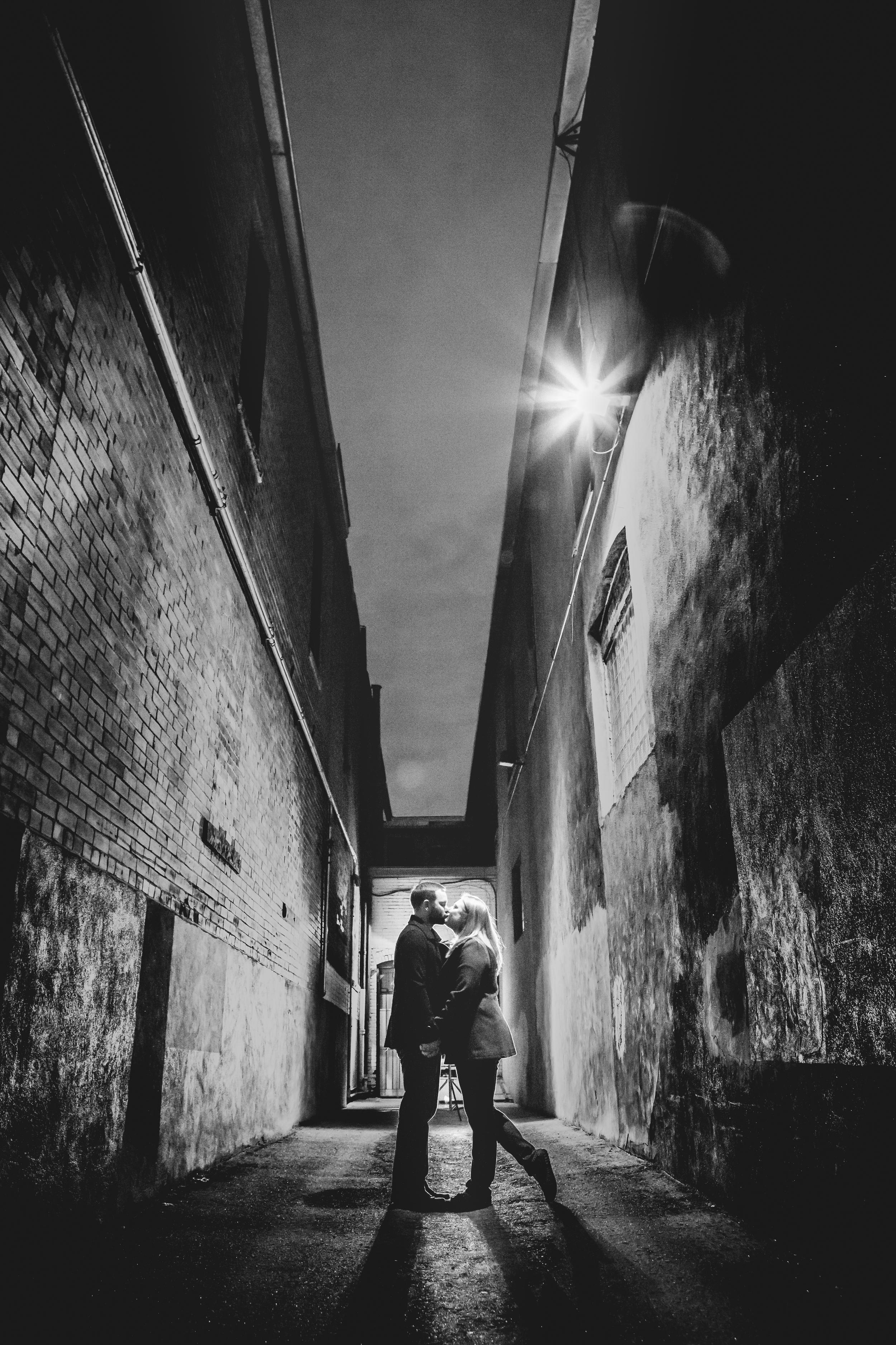 Pearl Street Engagements | Boulder Colorado | Backlit Alleyway
