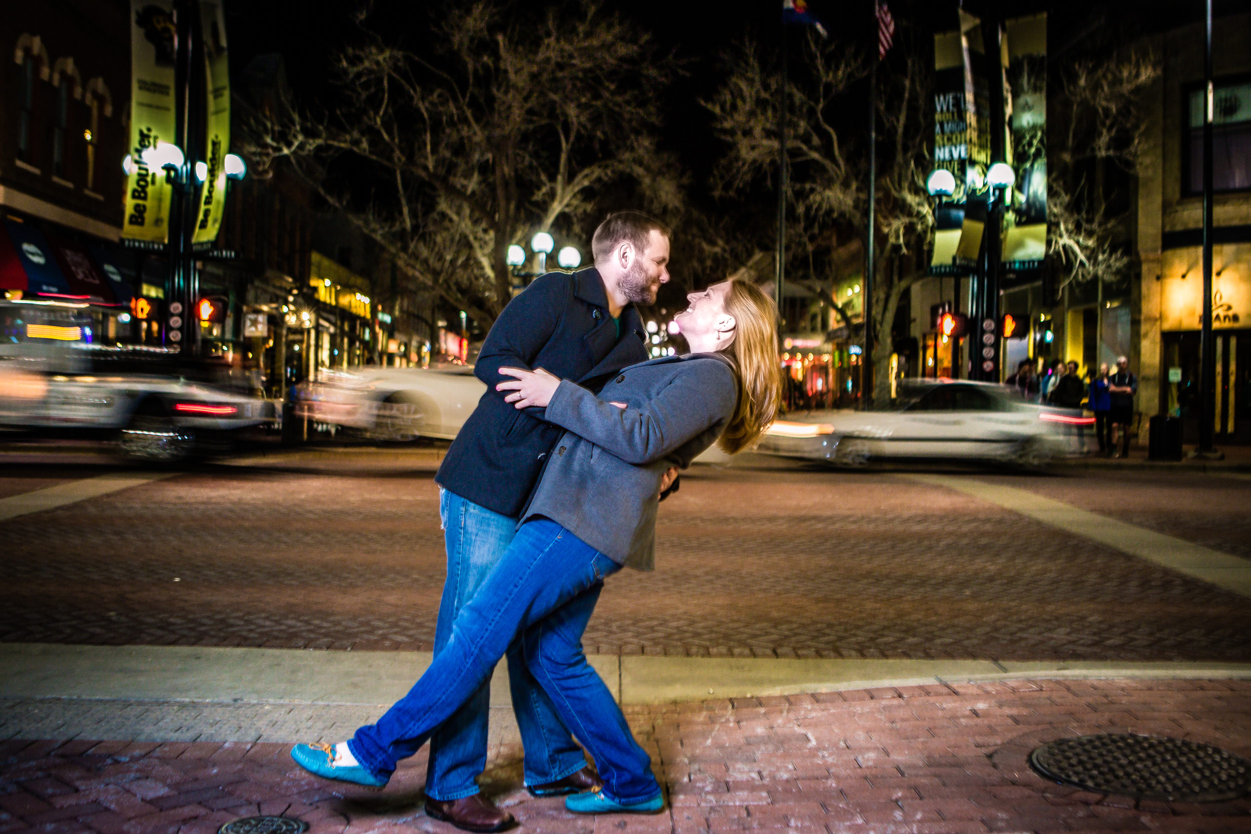 Pearl Street Engagements | Boulder Colorado | Blurred traffic