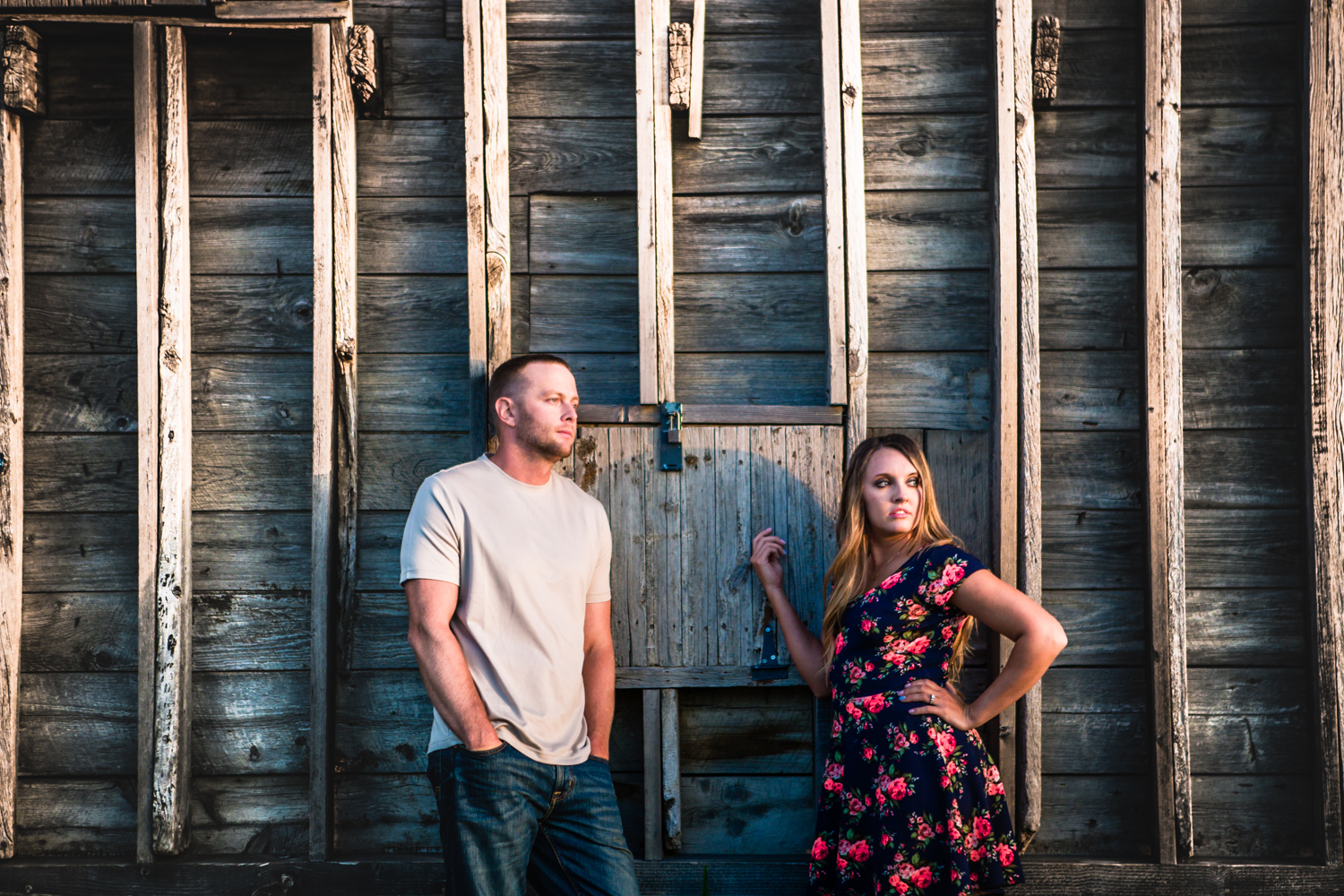 Engagement with a rustic barn at Sandstone Ranch. Take by Jared M. Gant