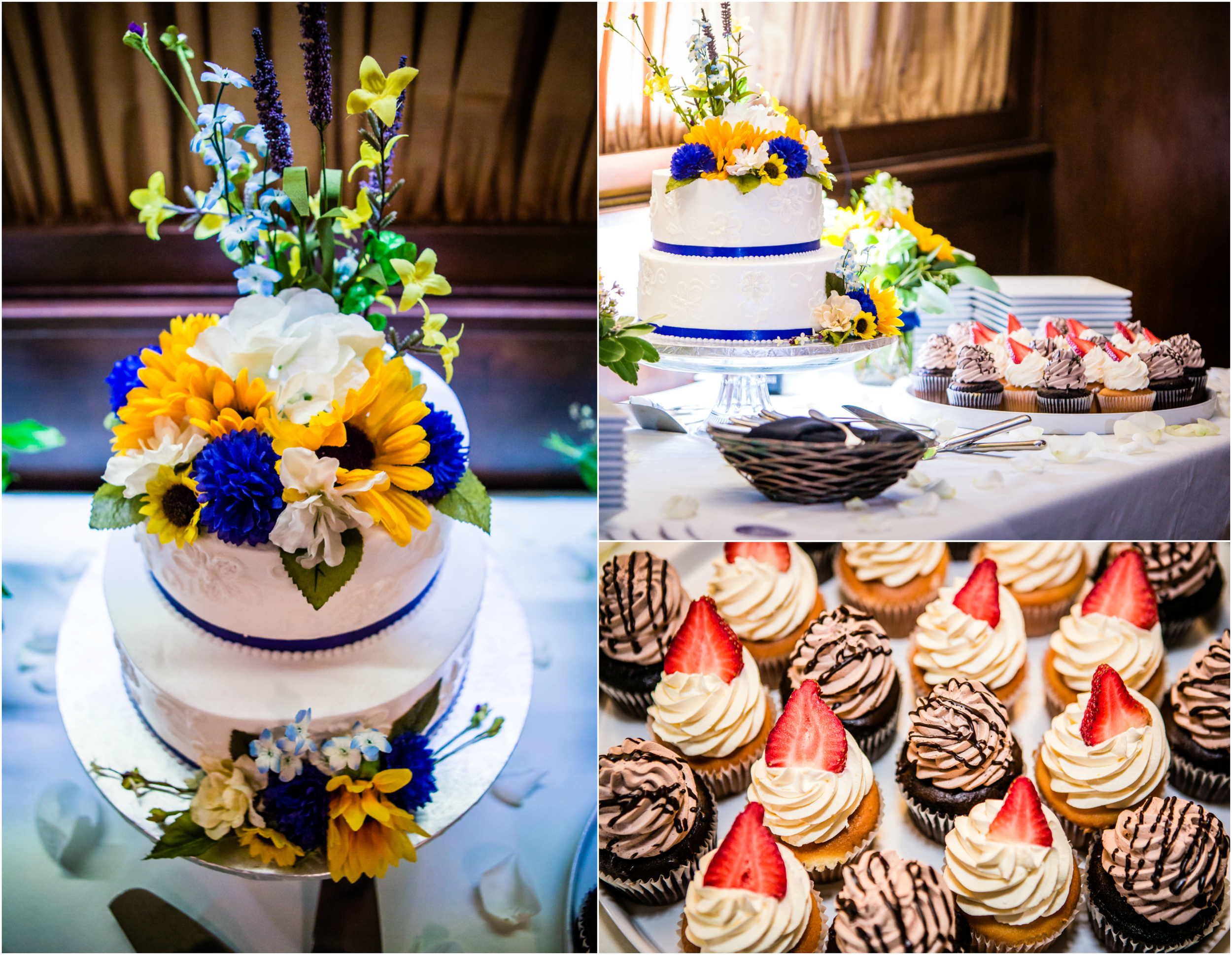 Beautiful wedding cake and cupcakes from Romana Cake House. Photograph by JMGant Photography