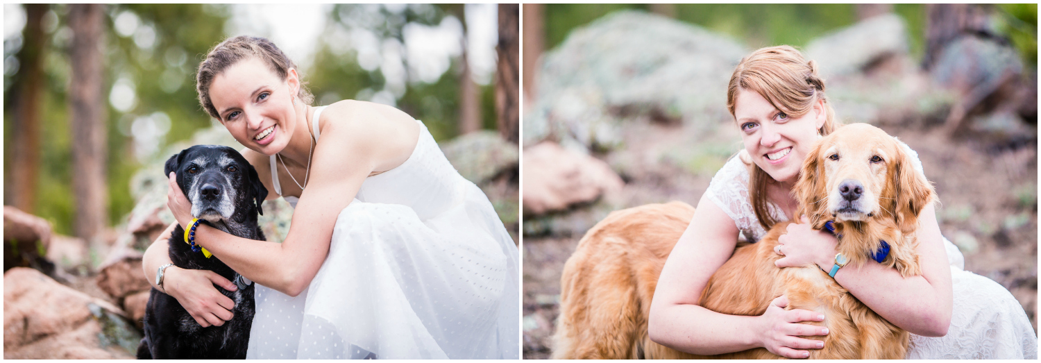 Brides with their dogs.