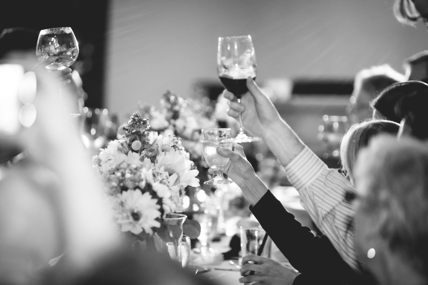Wedding guests toasting.