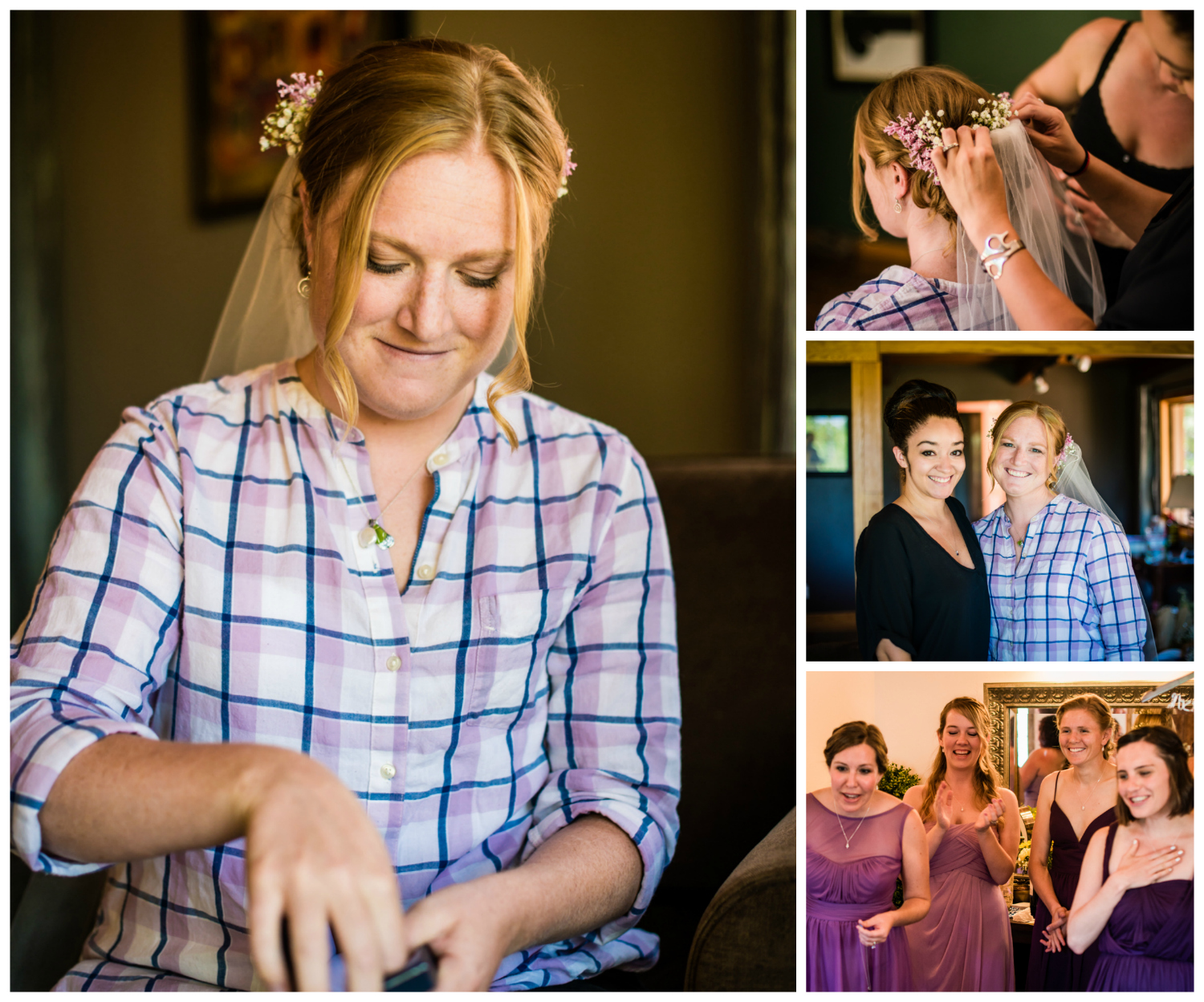 Bridal party preparation for their Deer Creek Valley Ranch Wedding. Photographed by JMGant Photography.