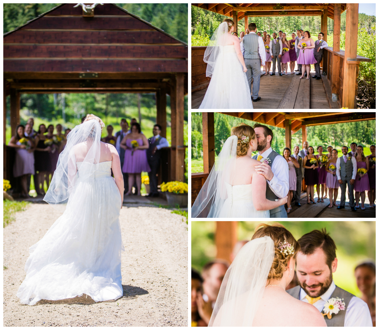 Bride and groom's first look at their Deer Creak Valley Ranch Wedding. Photographed by JMGant Photography.