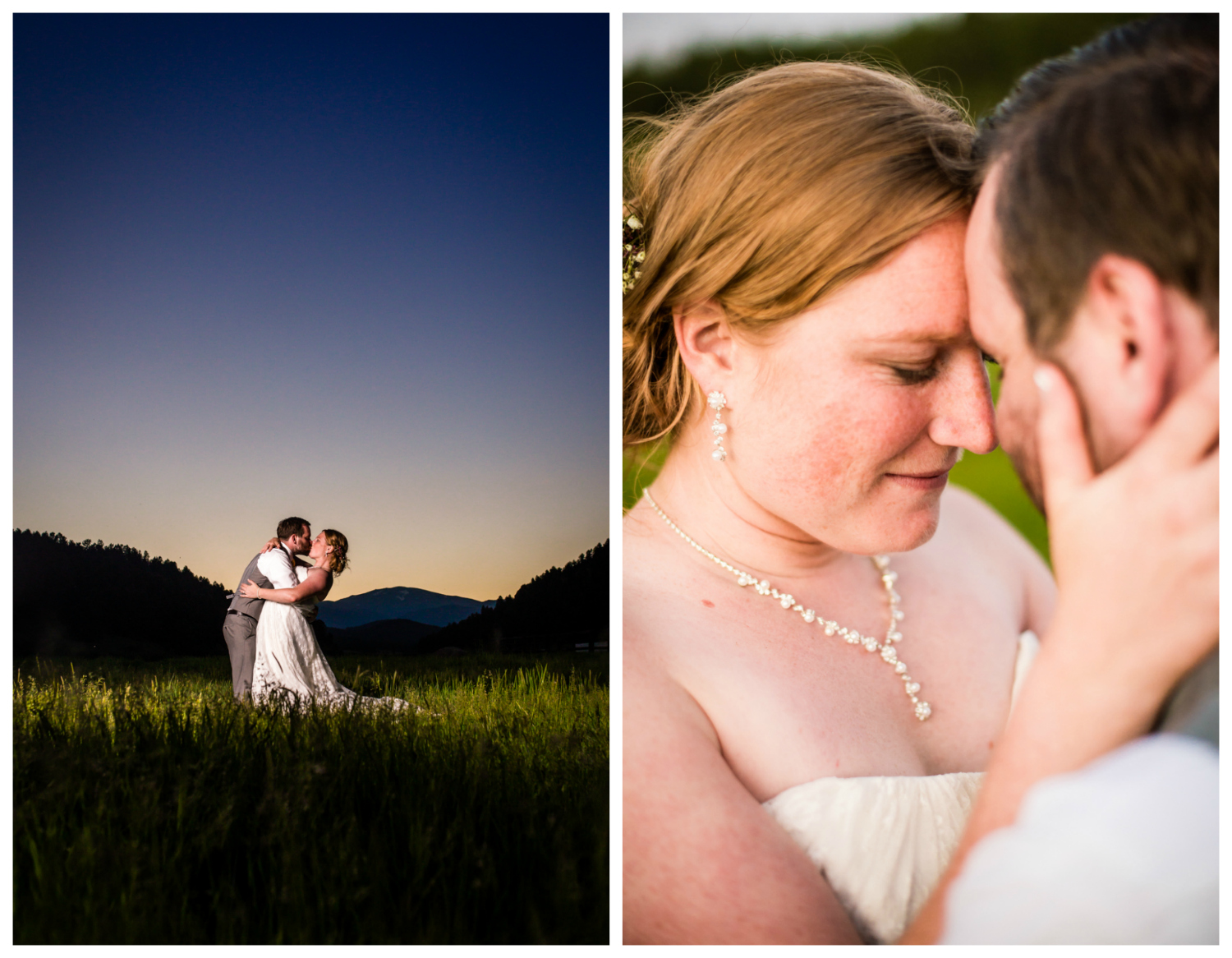 Sunset wedding pictures at Deer Creek Valley Ranch Wedding. Photographed by JMGant Photography.