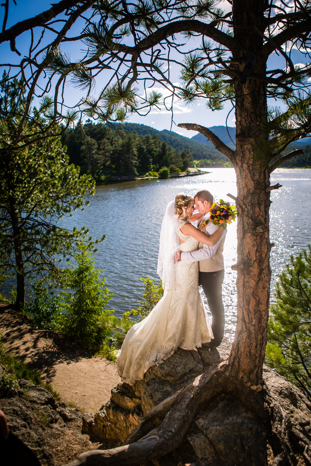 Evergreen Lake. Wedding at The barn at Evergreen Memorial. Photographed by JMGant Photography.