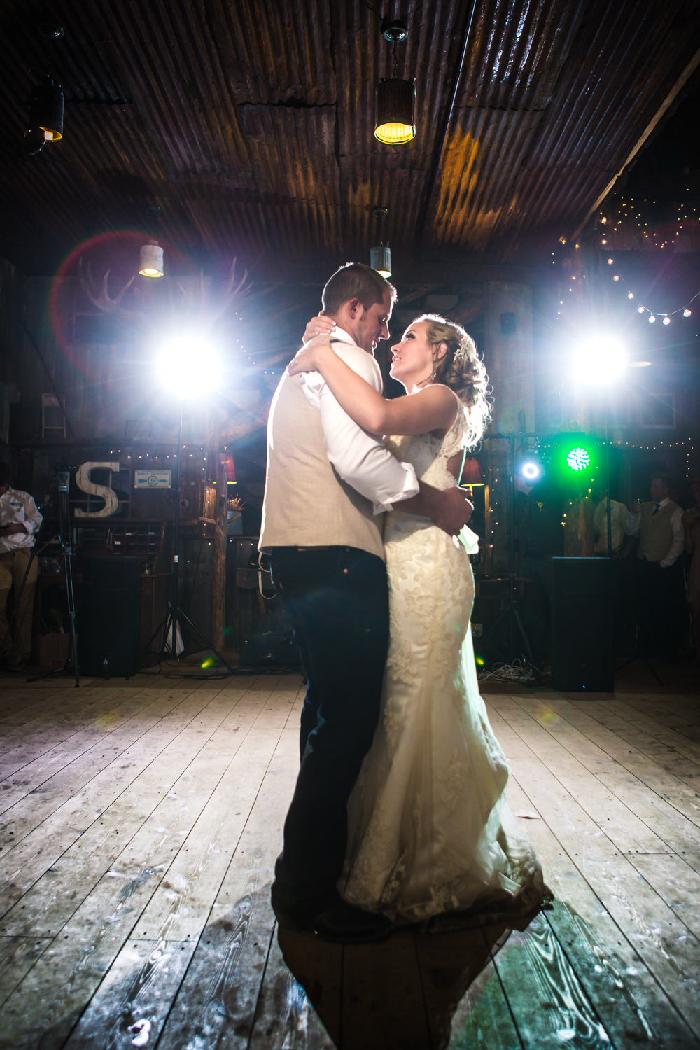 The bride and groom's first dance. Wedding at The barn at Evergreen Memorial. Photographed by JMGant Photography.