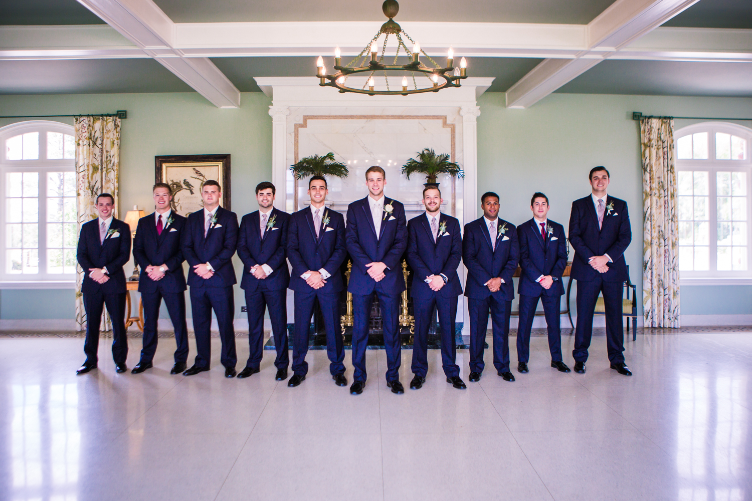 Groomsmen inside Highlands Ranch Mansion. Photographed by JMGant Photography, Denver Colorado wedding photographer.