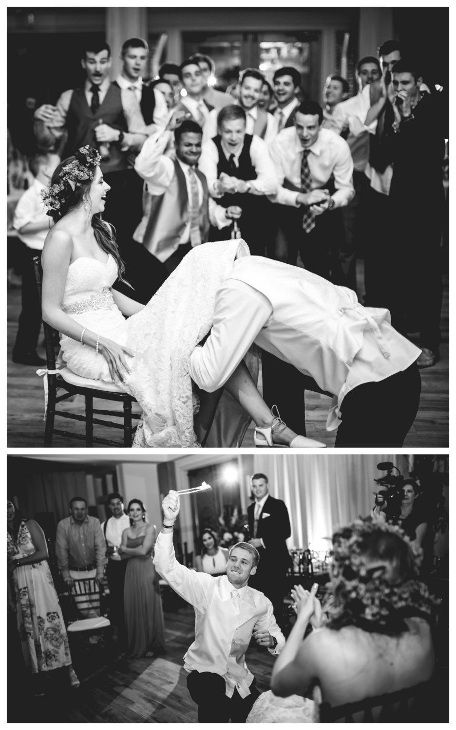 Garter toss at Highlands Ranch Mansion.   hotographed by JMGant Photography, Denver Colorado wedding photographer.