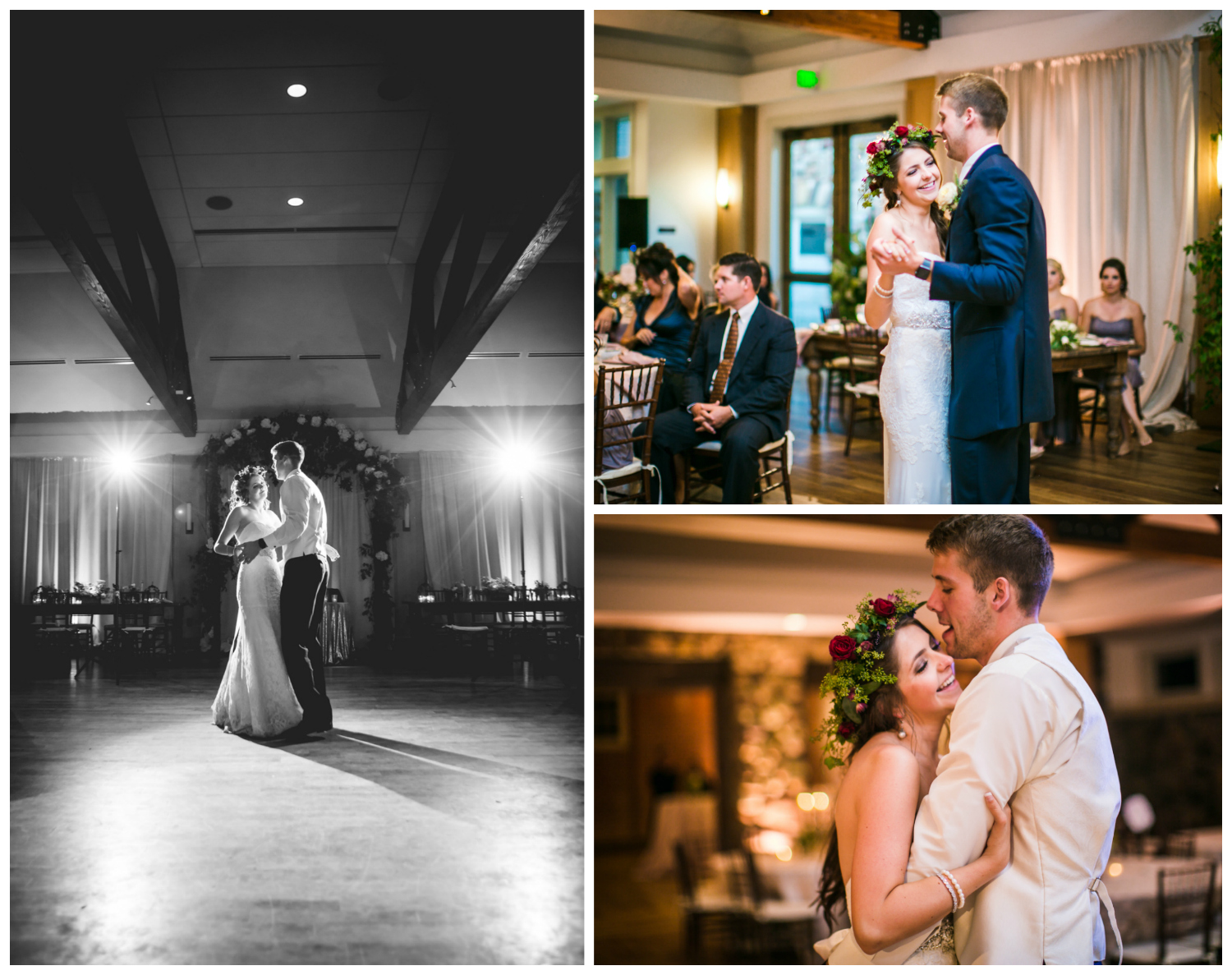 Bride and groom first dance at Highlands Ranch Mansion.    hotographed by JMGant Photography, Denver Colorado wedding photographer.