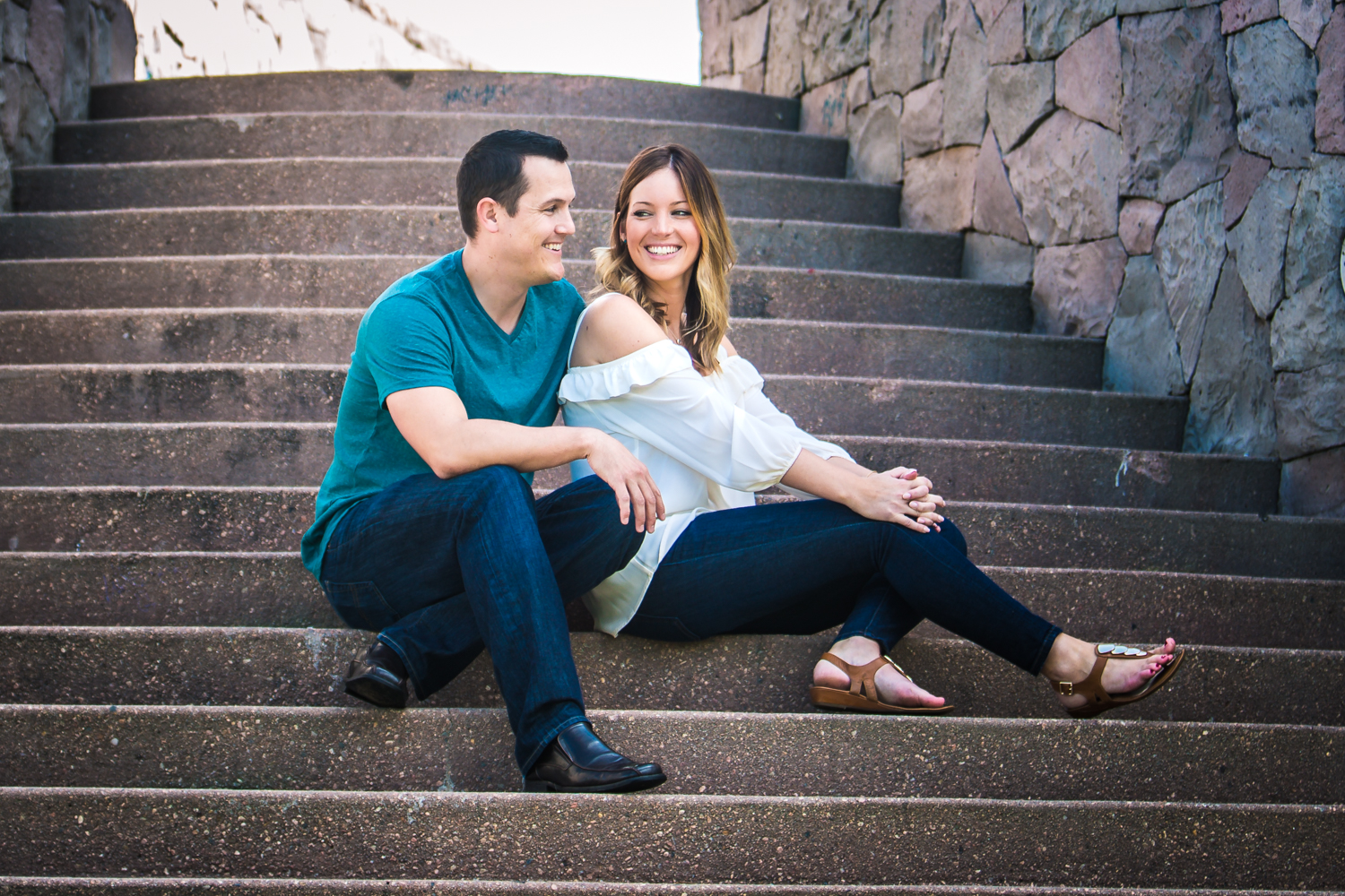 Downtown Denver engagement picture by JMGant Photography.