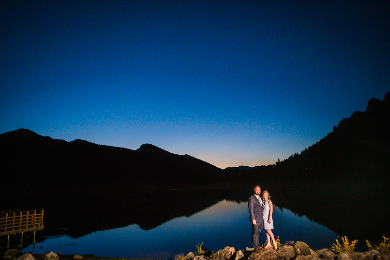Sunset engagement pictures taken in Estes Park Colorado by JMGant Photography.