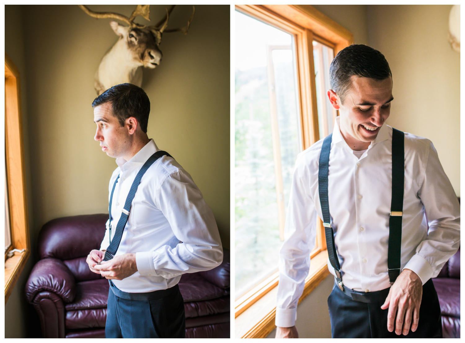 Groom getting ready for Vail Colorado Wedding photographed by JMGant Photography.