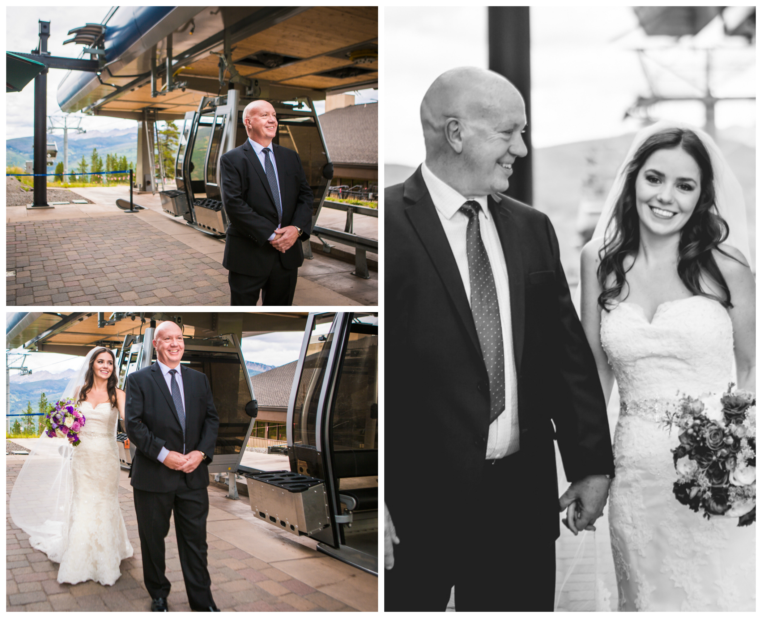 First look with her dad. Vail Colorado Wedding photographed by JMGant Photography.