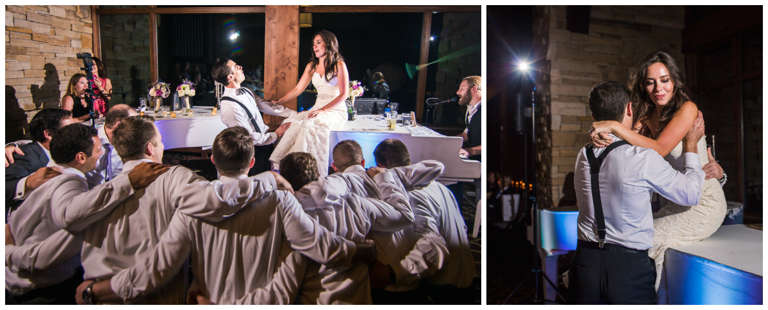 Groomsmen sing to the bride. Vail Colorado Wedding photographed by JMGant Photography.