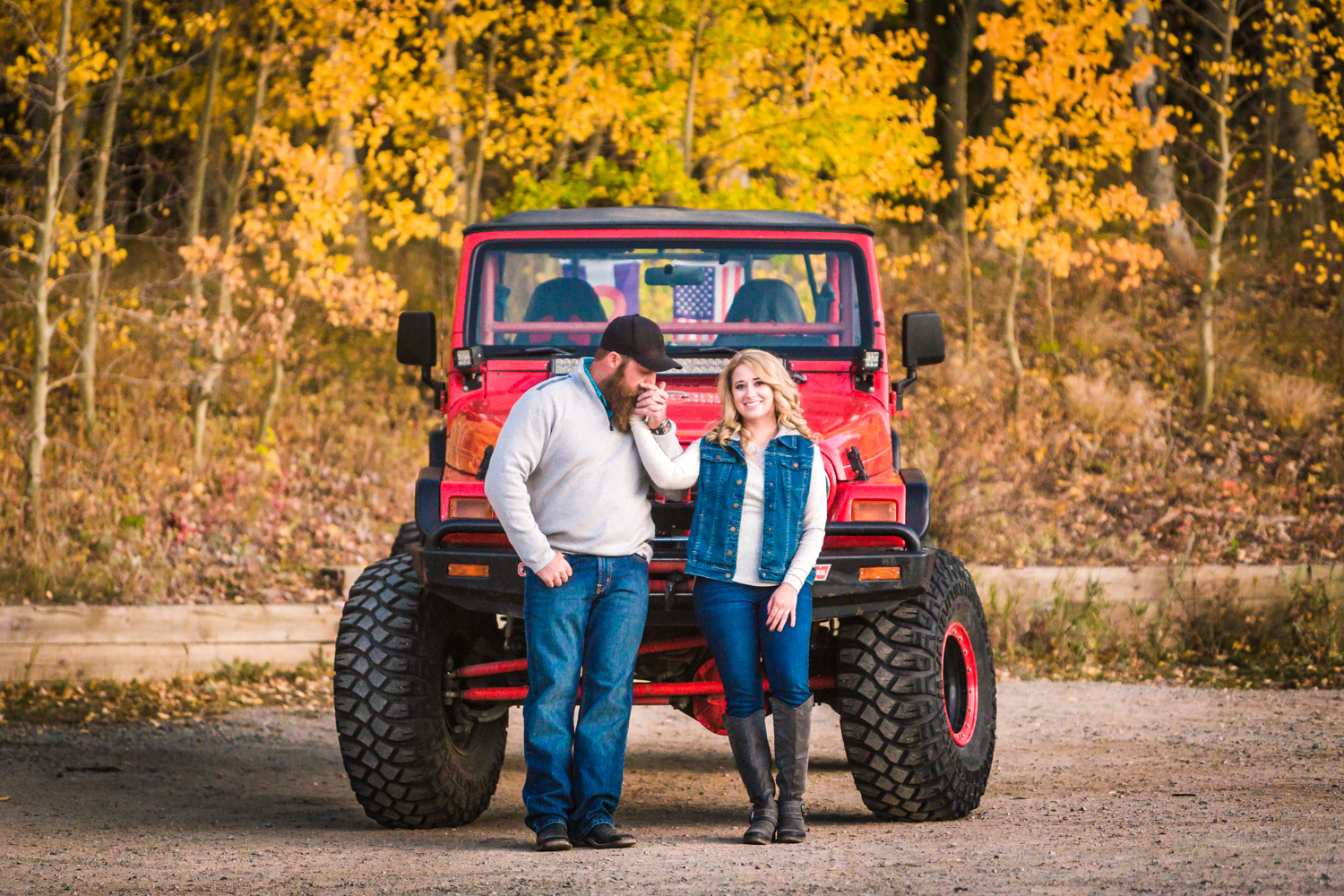 Jeeping engagement pictures taken in the Colorado mountains by JMGant Photography.