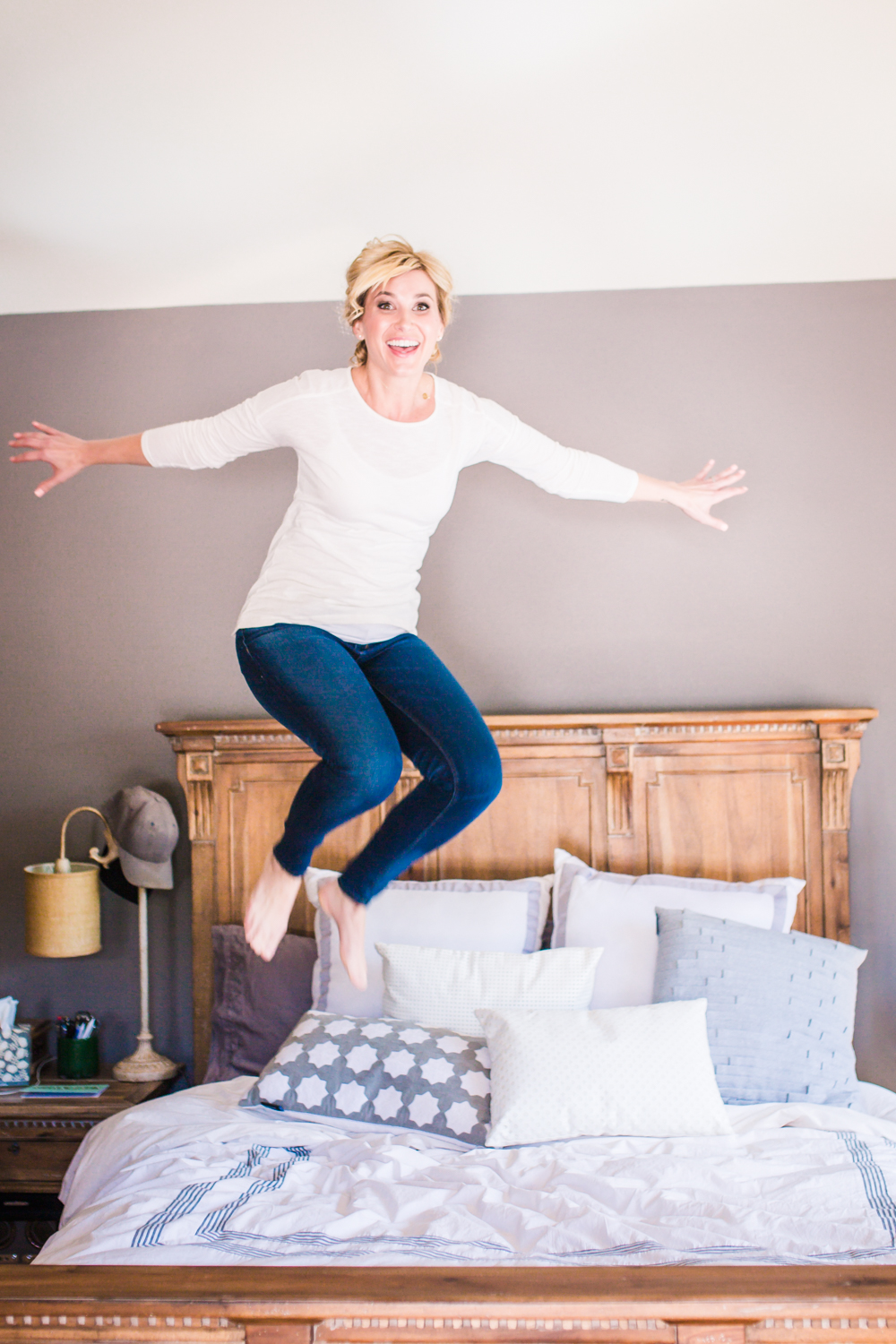 Bride jumping on her bed!