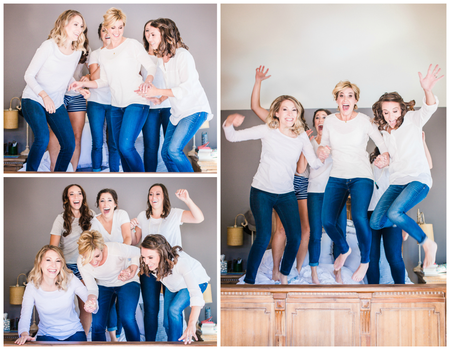 Bridesmaids jumping on bed.