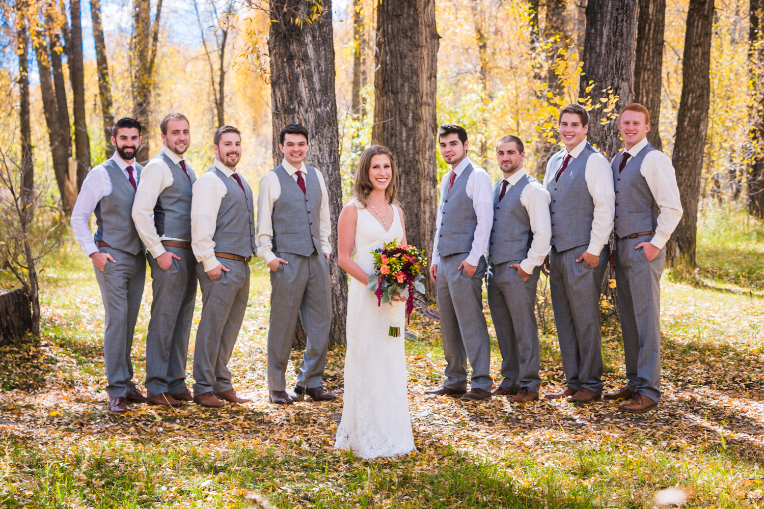 Bridal party for fall wedding by JMGant Photography