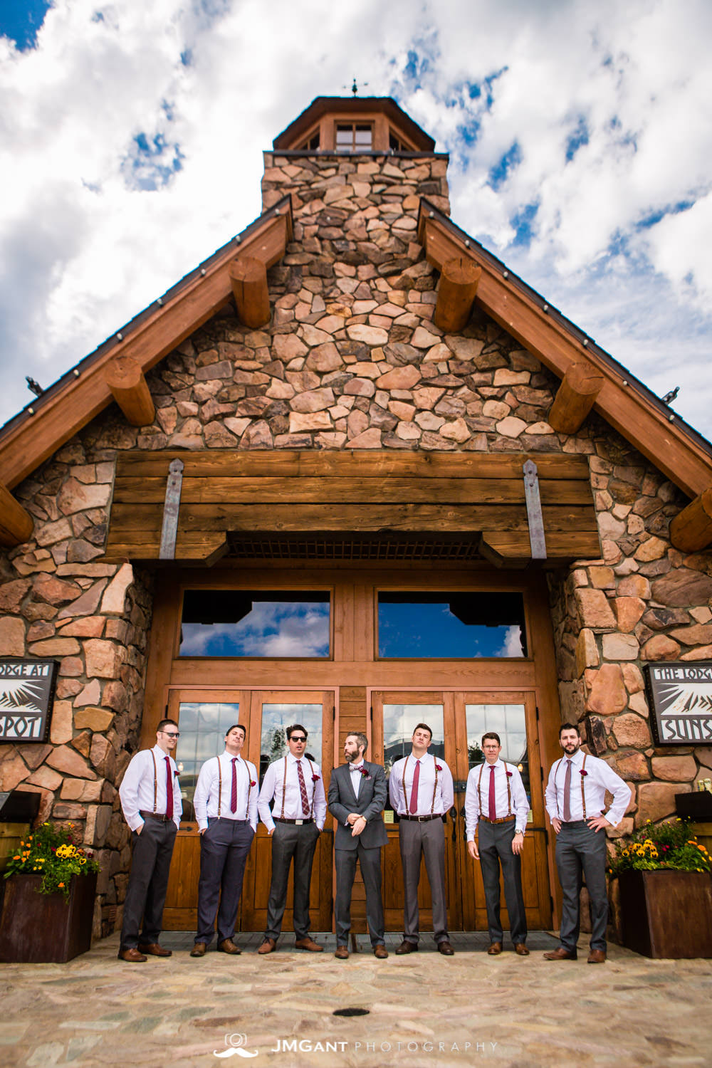 Wedding party photos for a Winter Park, mountain wedding at the Lodge at Sunspot, photographed by JMGant Photography