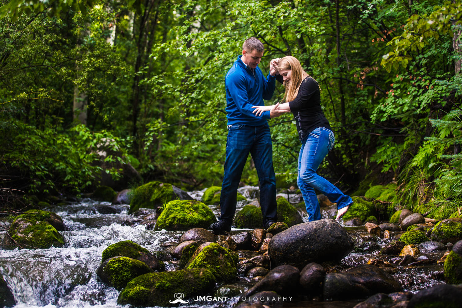 Early morning summer engagement photo shoot in Beaver Creek Colorado.
