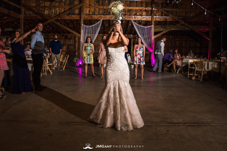 Platte River Fort Wedding | boutquet and garter toss | Greeley Colorado wedding photographer | © JMGant Photography | http://www.jmgantphotography.com/