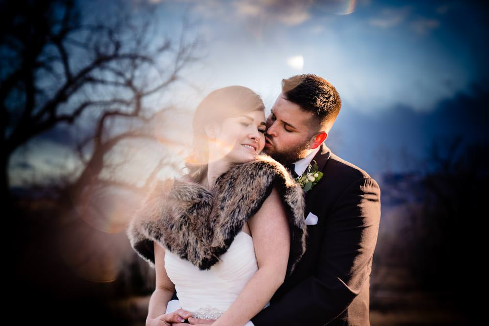 Bride and groom - Tapestry House winter wedding by Fort Collins wedding photographer, JMGant Photography