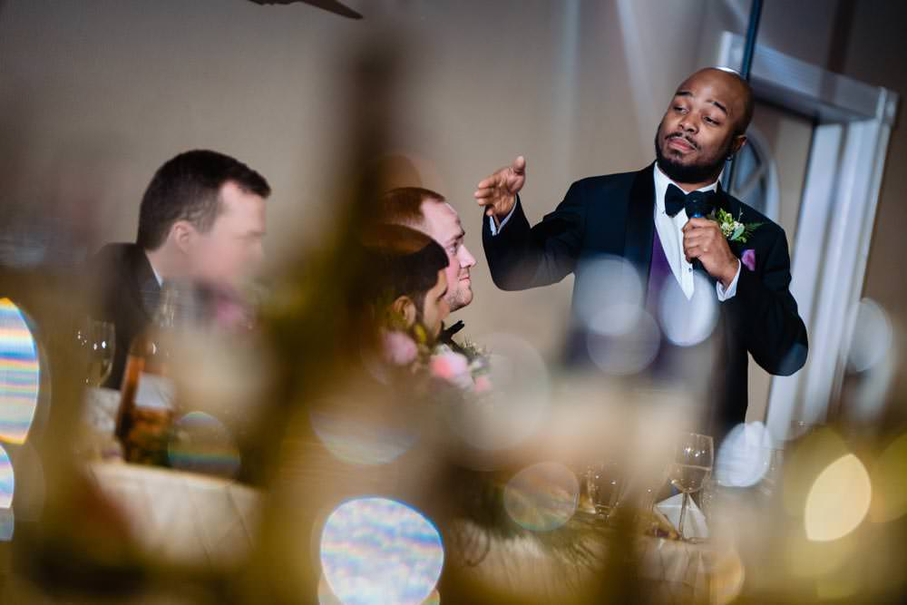 Groomsman speech - Tapestry House winter wedding by Fort Collins wedding photographer, JMGant Photography
