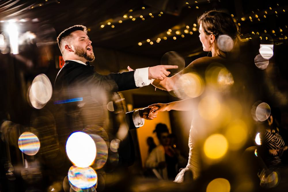 First dance - Tapestry House winter wedding by Fort Collins wedding photographer, JMGant Photography