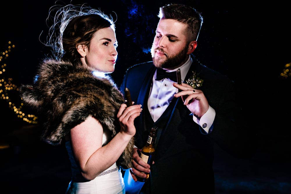 Bride and groom nighttime photos - Tapestry House winter wedding by Fort Collins wedding photographer, JMGant Photography