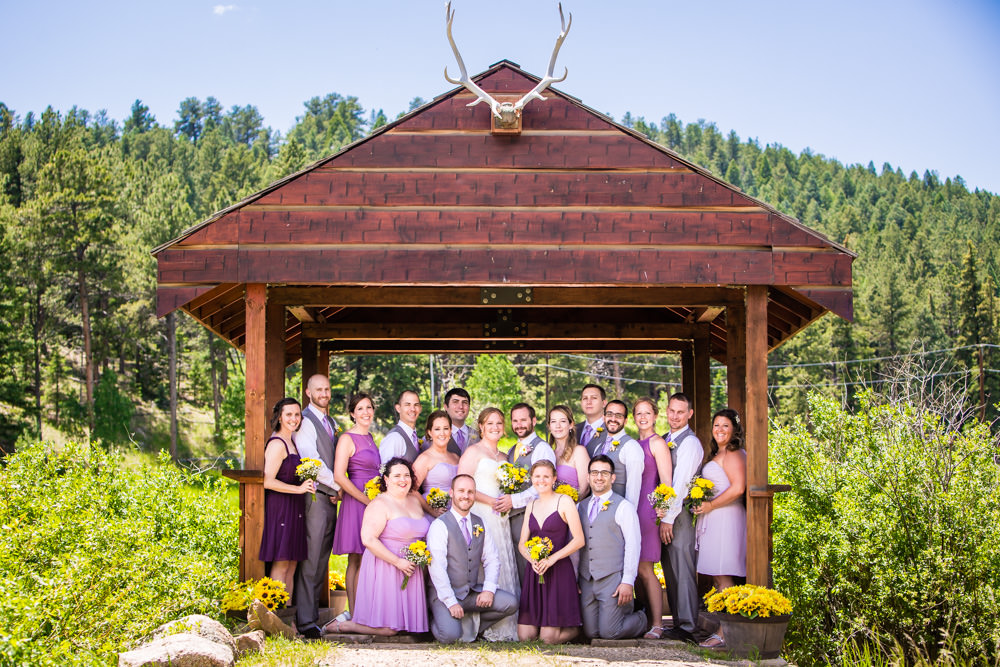 Wedding party formal portraits at Deer Creek Valley Ranch mountain barn wedding, coordinated and designed by Glow Events, photographed by JMGant Photography