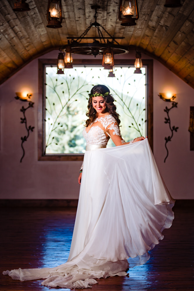 Beautiful boho bride at Deer Creek Valley Ranch for AM themed wedding