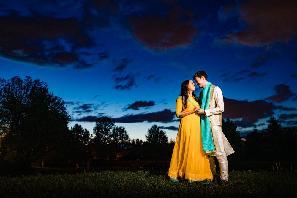 Denver Indian baraat sunset by Colorado photographer