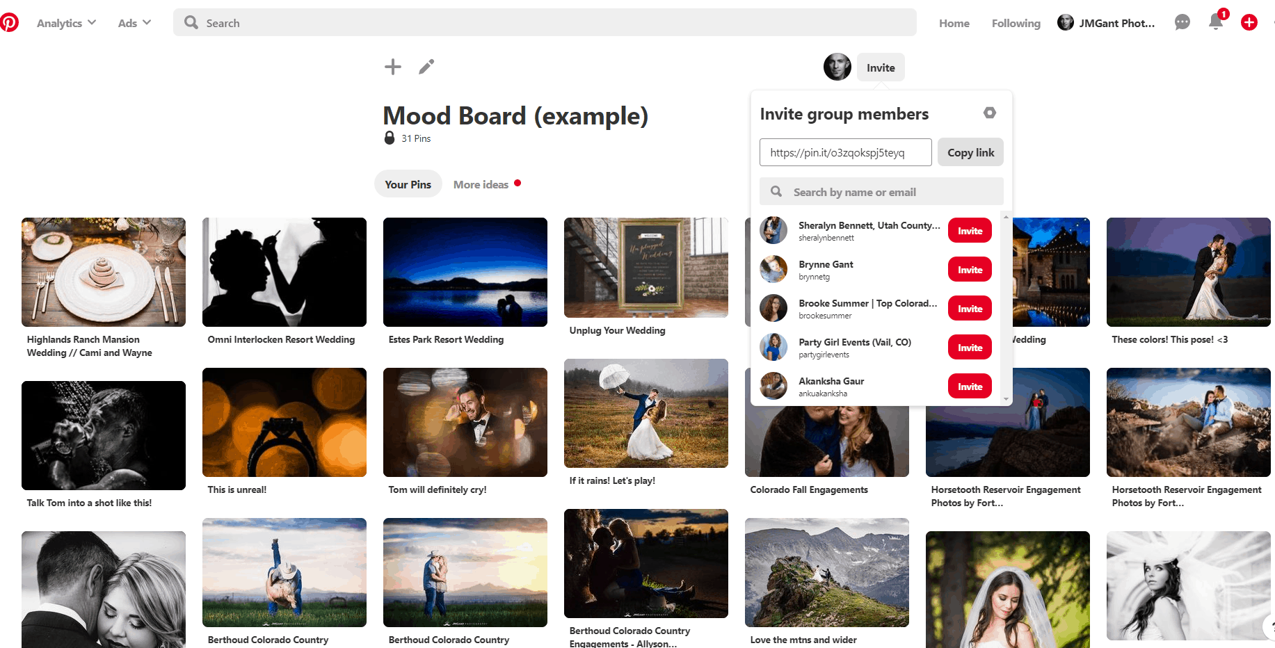 How to share my photography mood board.