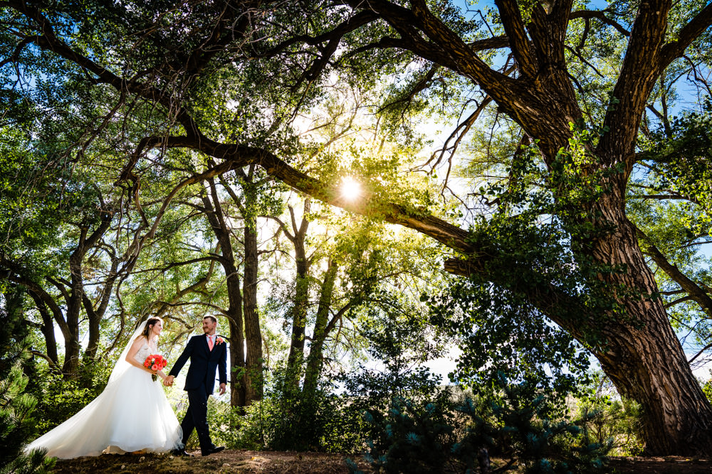 Bride and groom walking through a sunlit trees at Ellis Ranch Event Center in Loveland Colorado.