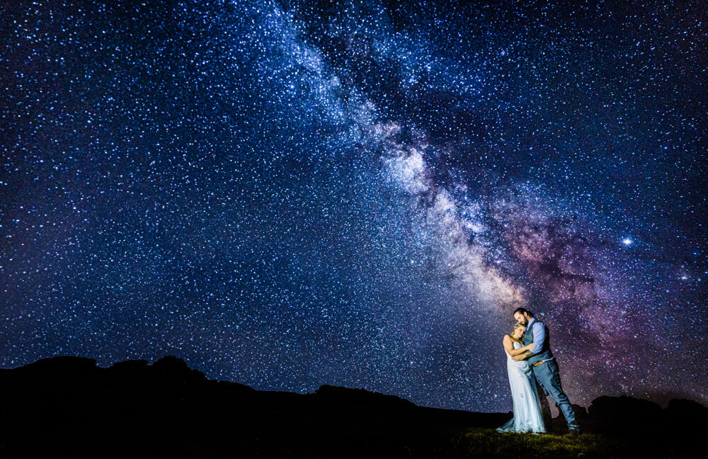 Incredible wedding under the milkyway in Rocky Mountain National Park