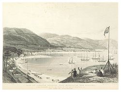 Oriental Bay in the 1840s. (National Library)