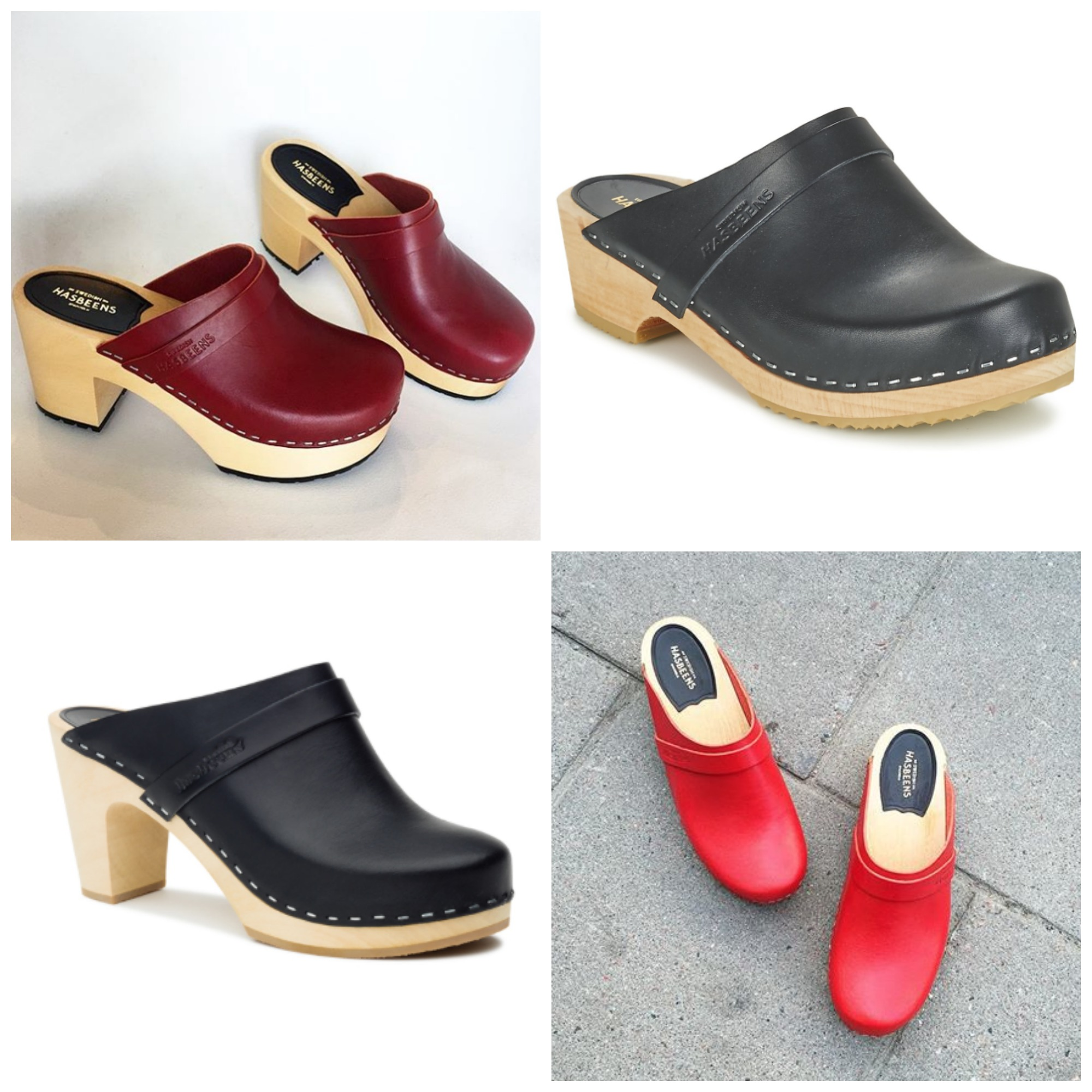 Top left, going clockwise: Louise in red , Husband in black, Classic Slip In, and Husband in red