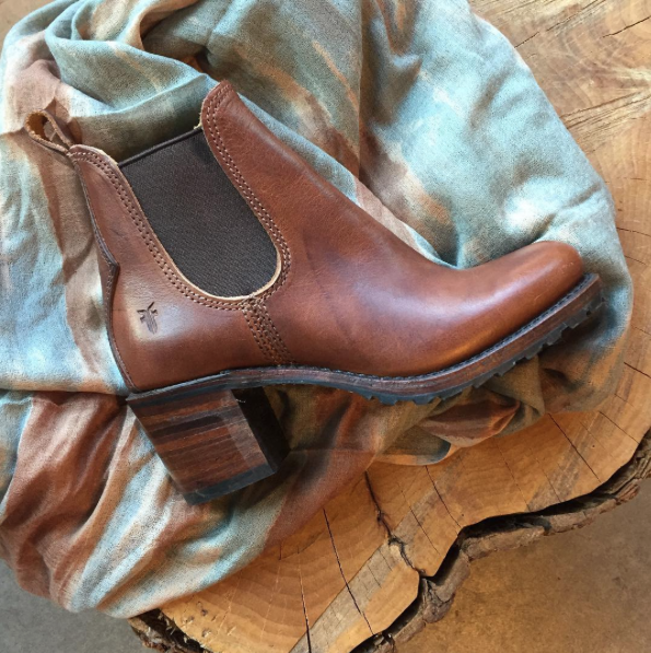 Stacked leather heels by Frye