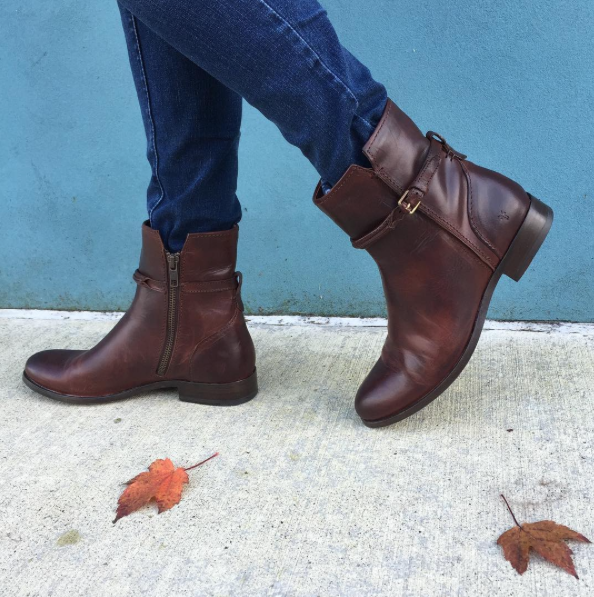 Rich leathers and feminine details by Frye