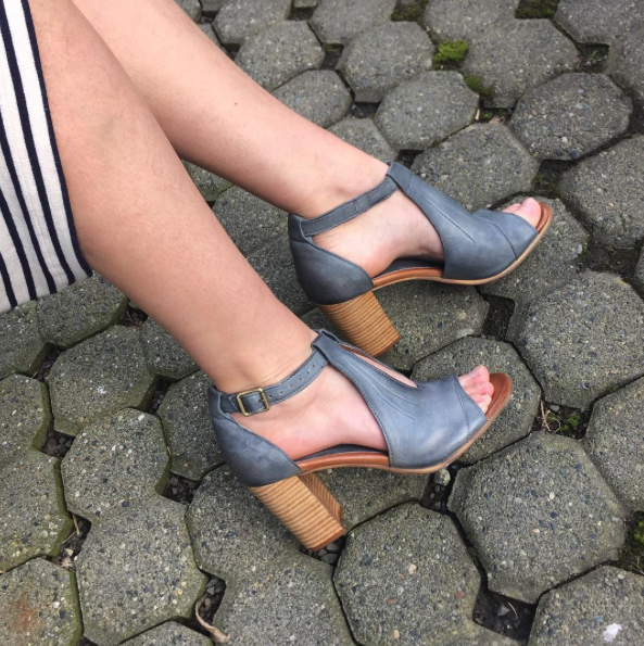 Miz Mooz heel in blue or mauve, available at our Mississippi location
