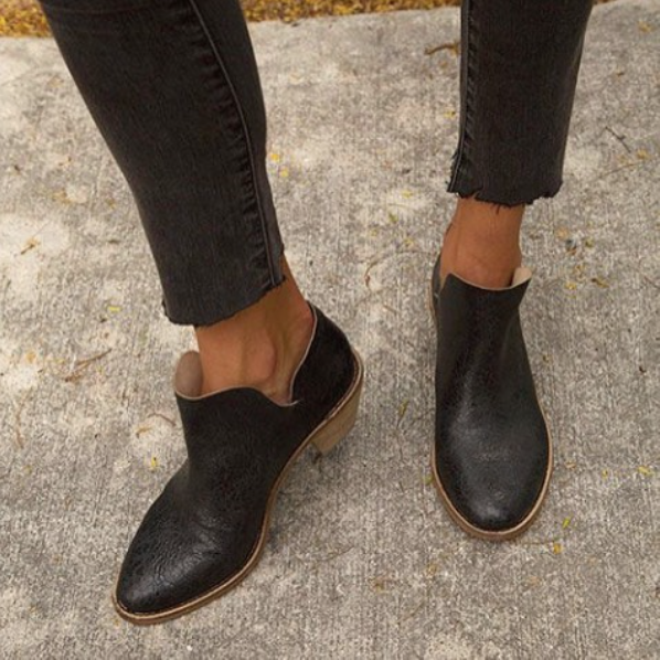 Kelsi Dagger Kenmare ankle booties in crackled black leather. Perfect,subtly-distressed,pairs well with all your raw hems.