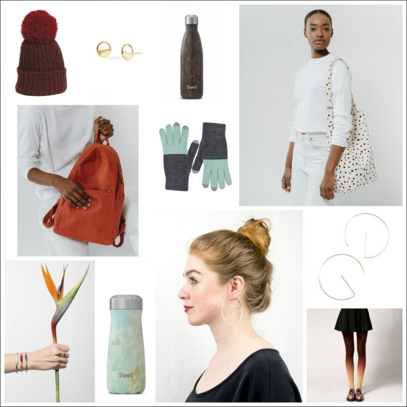 Adorable pom-pom beanies from Wooden Ships ($36), beautiful half-circle studs and large dipped hoops from Seattle-based Baleen($29 and $40), a variety of insulated bottlesand travel cups in bold colors and fun patterns from S'Well ($35), super cute canvas totes ($30) and backpacks ($48) from Baggu, functionally cozy color-block touchscreen gloves from Verloop($29), enamel color-top cuffs from Garnett ($29), thoroughly modern 'E' hoops from Tumbleweed ($50) and holiday-ready hand-dyed ombre tights from BZR ($43).