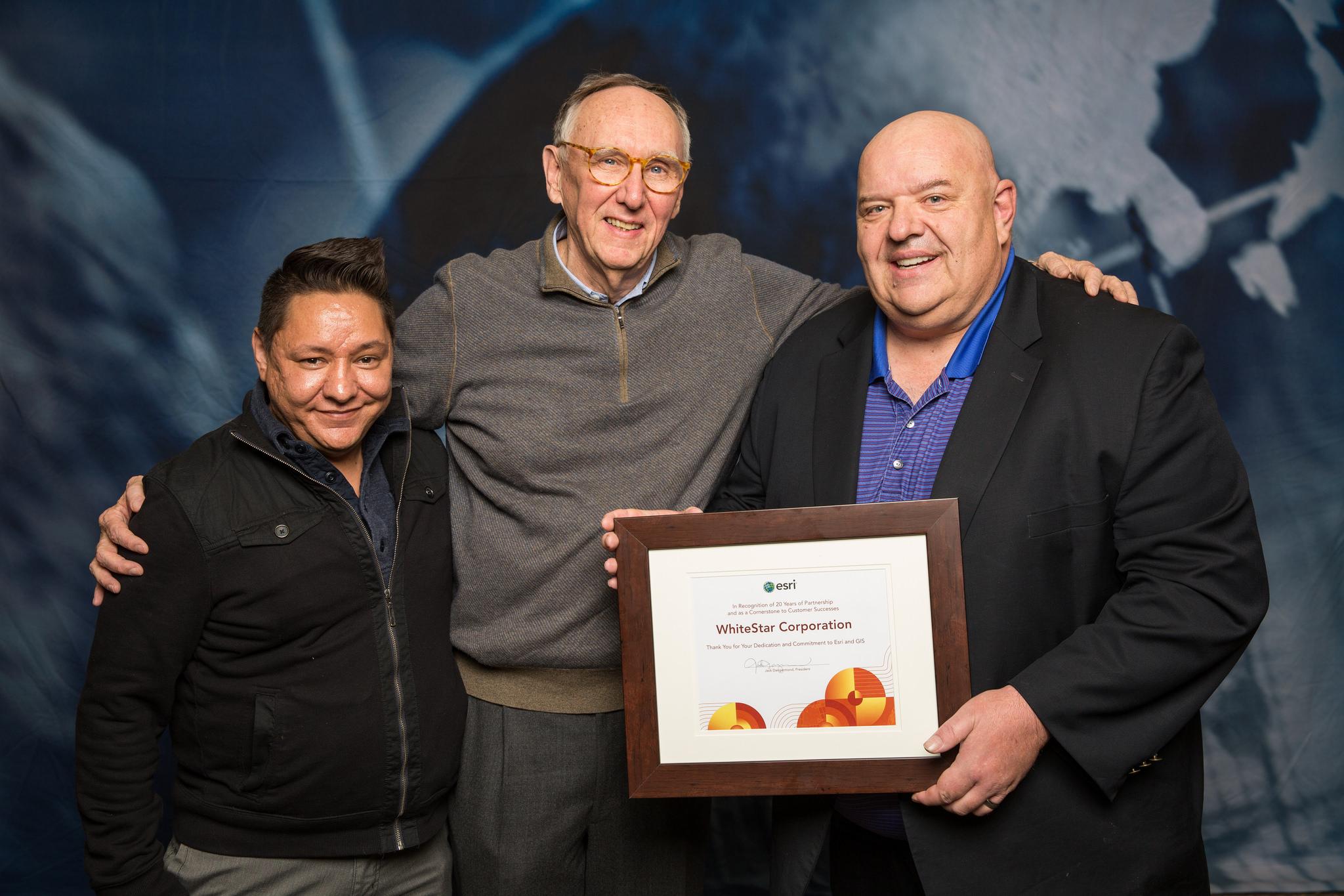 WhiteStar VP of Sales, Adam Cordova, Esri CEO, Jack Dangermond, Whitestar CEO, Robert C. White Jr.
