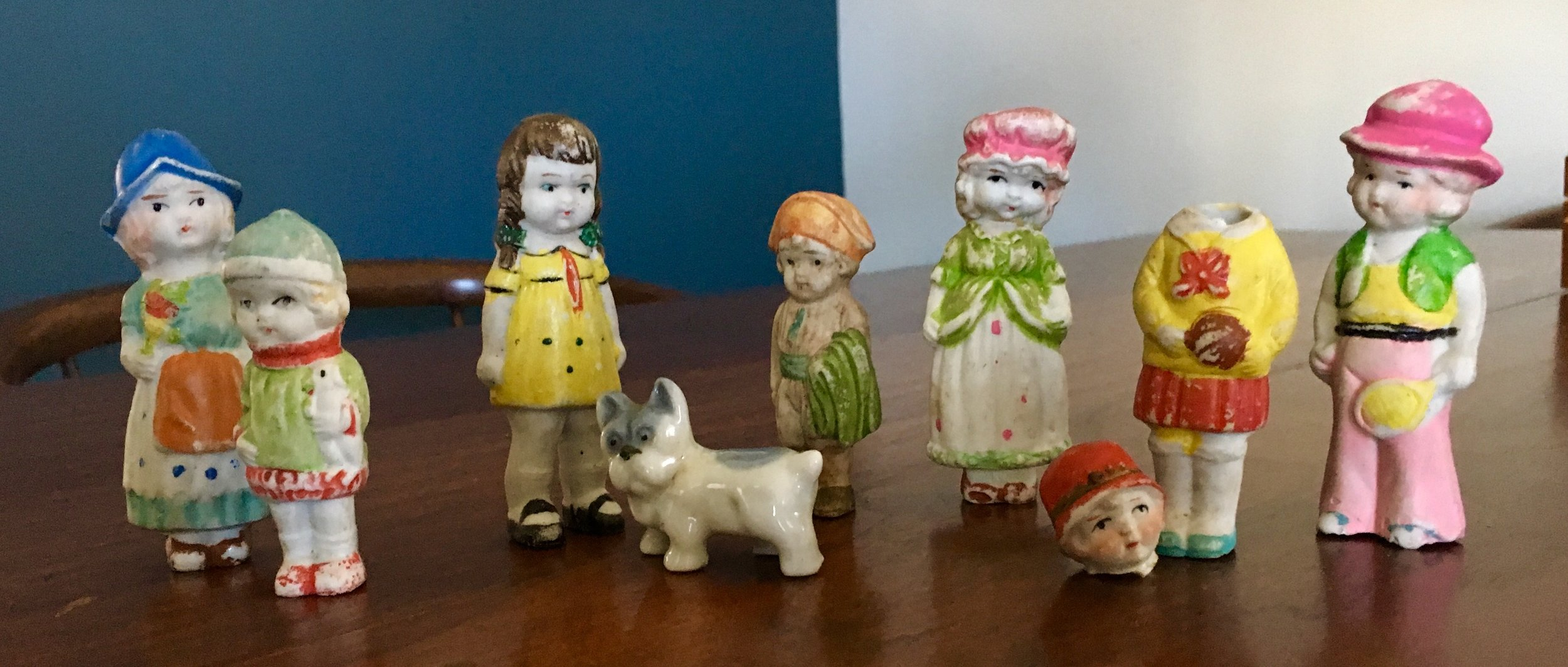 Small porcelain figures from today's estate sale (one lost her head during the drive home)