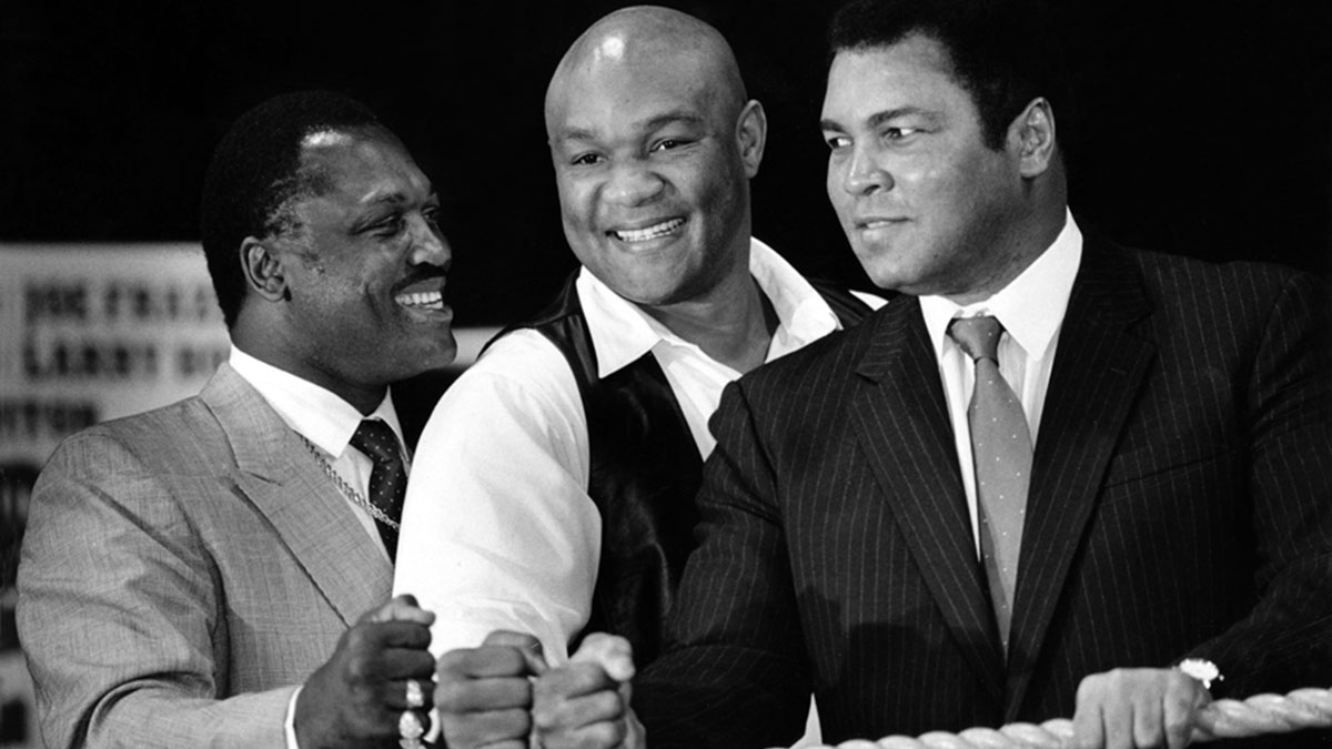 Frazier, Foreman and Ali. All friendly like.