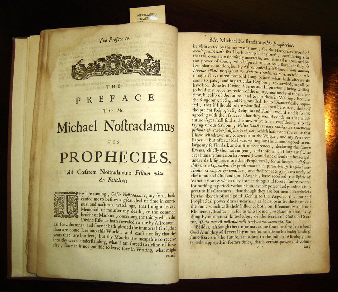 Garencières' 1672 English translation of Nostradamus's Prophecies