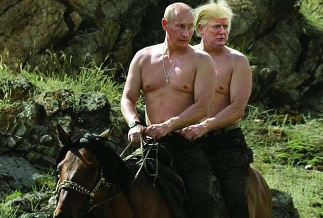 Vladimir, in a gesture of true hospitality, is taking his friend Donald for a ride