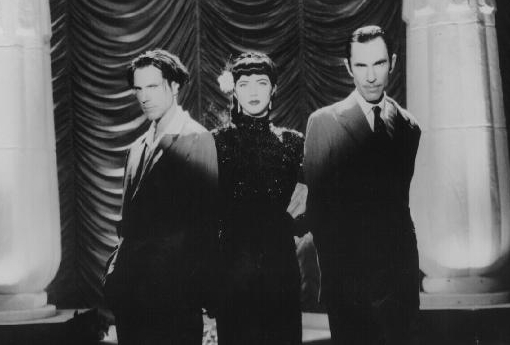 Sparks' Ron and Russell Mael with Christi Haydon, looking suitably Hollywood