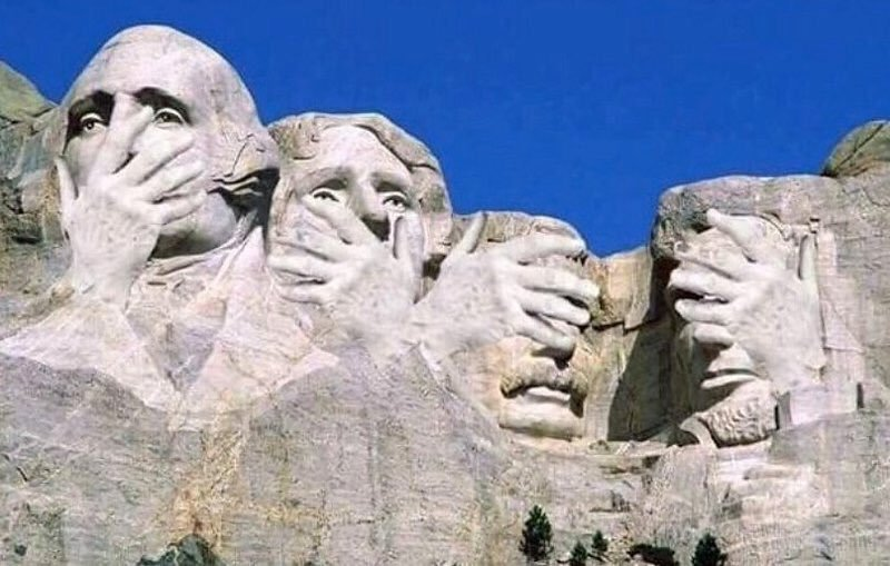 The rocks of Mount Rushmore. Things are looking rough right now …